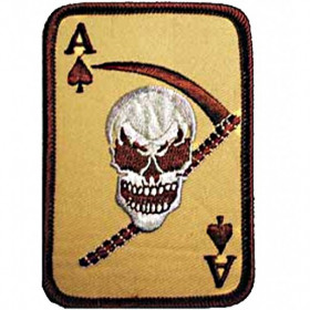 Patch US Carte as de pique/tête de mort Tan