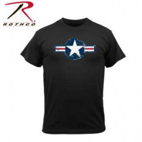 Tee shirt vintage Air Corps US Star Noir