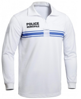 Polo manches longues - Blanc - Police Municipale