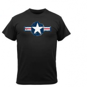 Tee shirt vintage Air Corps Star Noir